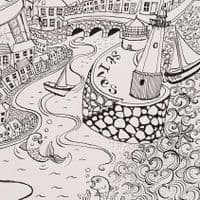 Breezy Day Framed Print | Pen and Ink Drawing | Kim Lynch